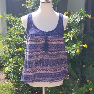 Clockhouse Tops - Clockhouse Mixed Print Crochet Tank Top